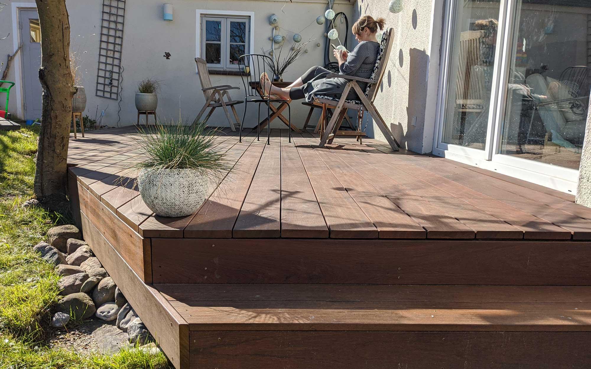 terrassenbau Kiel - eine Bangkirai Terrasse von uns gebaut